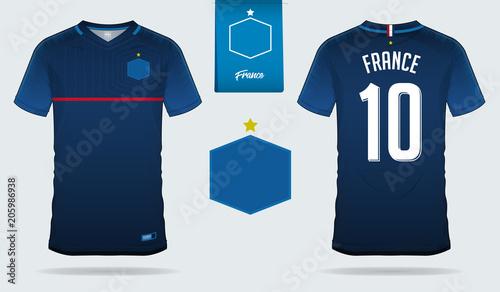d5449e4d92e Set of soccer jersey or football kit template design for France national  football team. Front