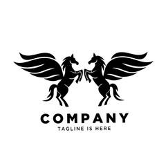 Twin stand horse pegasus logo
