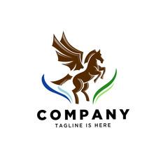 stand horse pegasus logo