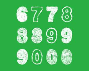 handwritten white chalk bold arabic numbers 6, 7, 8, 9, 0 on green background, hand-drawn chalk numerals, stock vector illustration