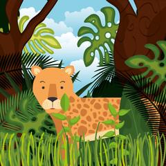 wild cheetah in the jungle scene vector illustration design