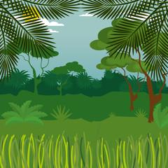 rainforest jungle natural scene vector illustration design