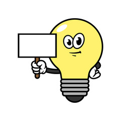 Cartoon Light Bulb Character With Blank Sign