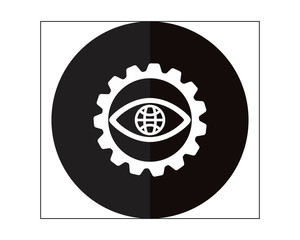 black eye gear business company office corporate image vector icon logo