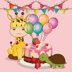 happy birthday card with cute giraffe vector illustration design
