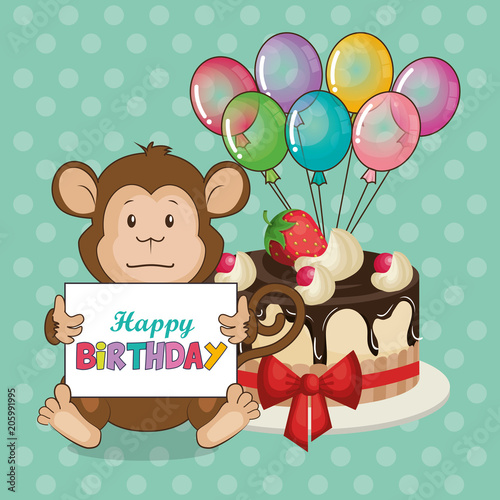 Happy Birthday Card With Cute Monkey Vector Illustration Design