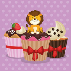 happy birthday card with cute lion vector illustration design