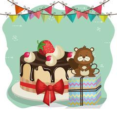 happy birthday card with cute beaver vector illustration design