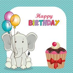 happy birthday card with cute elephant vector illustration design