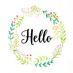 Hello word on colorful watercolor flower wreath on white background, banner, greeting card
