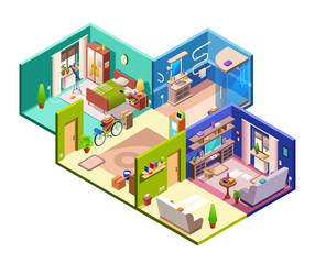 Apartments cross section vector illustration of modern flat plan. Isometric interior layout of living room, bathroom shower or bedroom with corridor hallway and furniture