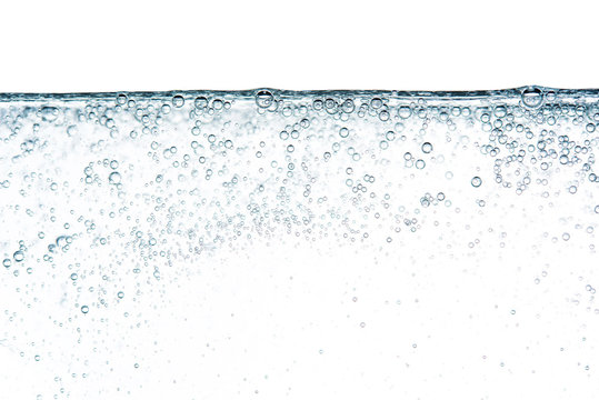 Close up bubble in water soda pop or foam soap shampoo isolated on white background photo object design