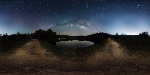 360 degree panorama of milky way band across sky over reservoir.