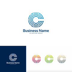 C initial Technology logo, Core Tech logo template