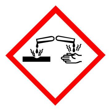 Standard Pictogam of Corrosive Symbol, Warning sign of Globally Harmonized System (GHS)