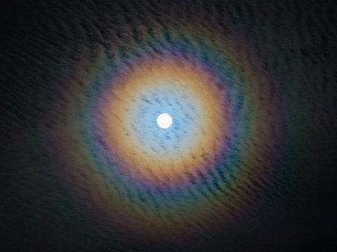 Phenomenon, Lunar corona, rainbow  around the Moon.