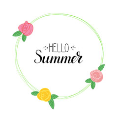 Hello Summer handwritten text and picture of flowers. Summer time logo template with calligraphic design. Summer Holidays lettering for prints, posters for Beach party, travel agency events.