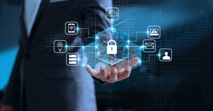 Data protection privacy concept. GDPR. EU. Cyber security network. Business man protecting his personal data information. Padlock icon and internet technology networking connection