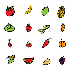 hand drawn doodle fruits and vegetables icon set vector illustration