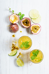 passion fruit with lime and mint leaves