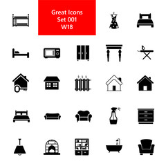 Home icon set. Household equipment and furniture collection