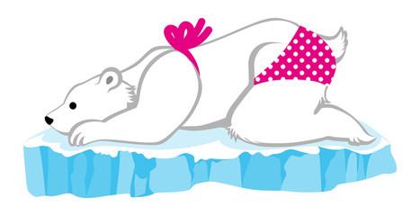 Polar Bear girl wearing bikini on the ice