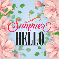 Summer hello lettering with tender flowers