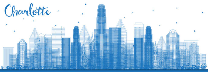 Outline Charlotte North Carolina Skyline with Blue Buildings. Wall mural