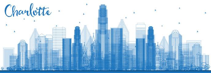 Outline Charlotte North Carolina Skyline with Blue Buildings.