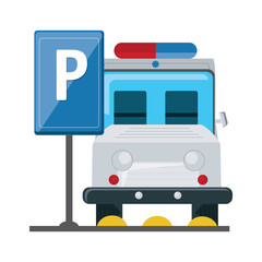 parked ambulance in parking zone over white background, vector illustration