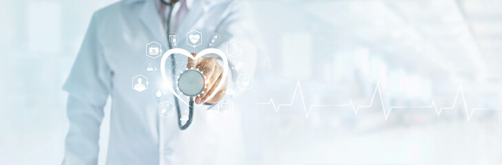 Cardiologist doctor with stethoscope in hand toching medical icon network connection on modern virtual screen networking interface, medical technology and patient concept, blank text