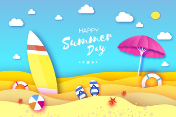 Surfboard. Pink parasol - umbrella in paper cut style. Origami sea and beach with lifebuoy. Sport ball game. Flipflops shoes. Vacation and travel concept. Square frame Space for text. Summertime.