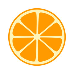 Orange, tangerine or mandarin split half slice flat vector icon for fruit apps and websites