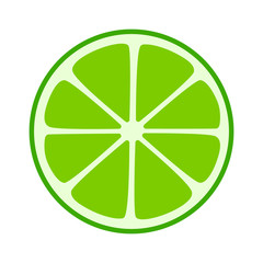 Lime citrus split half slice flat icon for fruit apps and websites