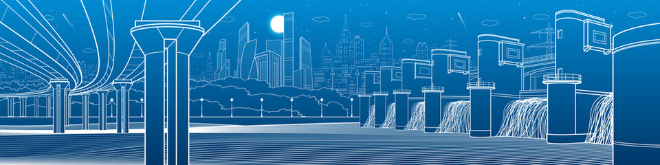 City infrastructure industrial illustration panorama. Hydro power plant. River Dam. Large automobile bridge. Energy station. White lines on blue background. Vector design art