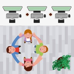 group of people designers around circle from looking up in workspace vector illustration vector illustration