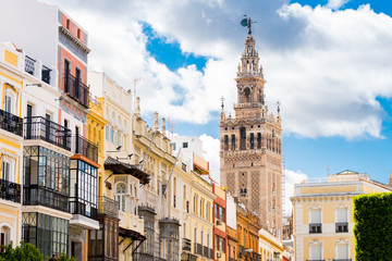traditional houses of triana neighborhood in Seville, Spain