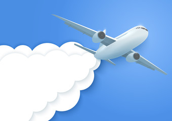 Plane in the clouds. Aircraft and paper clouds. Vector.