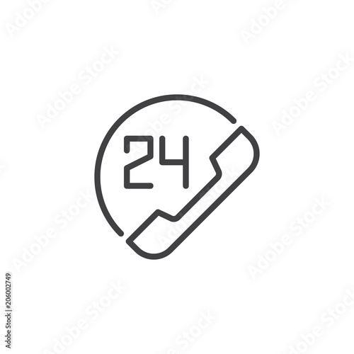 24 Hours Customer Support Outline Icon Linear Style Sign For Mobile