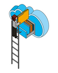 businessman in stairs putting document file folders in the cloud computing storage isometric vector illustration