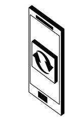 smartphone reload arrows button web isometric vector illustration black and white