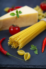 Different pasta and cheese