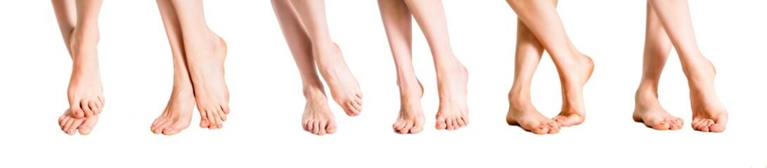 Female feet. Isolated on white background. Skin care