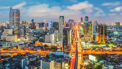 Bangkok Cityscape Business district with high building Bangkok Thailand.