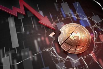 shiny golden GENOTIC EXCHANGE cryptocurrency coin broken on negative chart crash baisse falling lost deficit 3d rendering