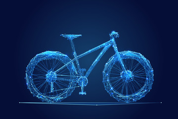 Abstract vector image of bike. Bicycle Low poly wire frame illustration. Lines and dots. RGB Color mode. Polygonal art.