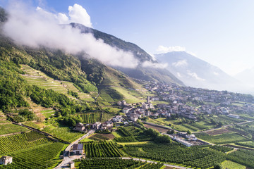 Village in Valtellina, mountain valley in the alps Wall mural
