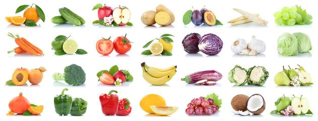 Wall Mural - Obst und Gemüse Früchte viele Apfel Tomaten Orangen Salat Zitrone Farben Freisteller freigestellt isoliert