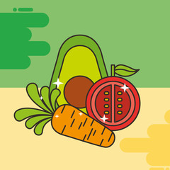 avocado tomato and carrot vegetables healthy food vector illustration