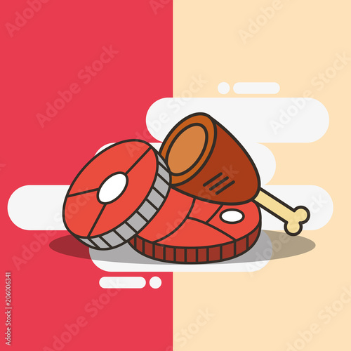 Chicken Leg And Meat Fish Pieces Food Vector Illustration Stock